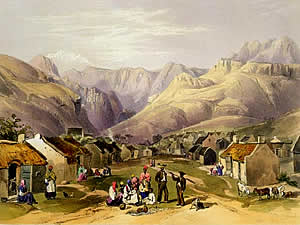Genadendale is the home of the very first mission station in southern Africa, founded in 1738 by the Moravian Church.  The picture is of the mission station about 1849 by George French Angas.  Find Caledon accommodation on our Caledon accommodation page.