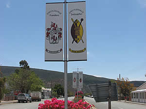 Steytlerville's famous main street with the coats of arms of its citizens