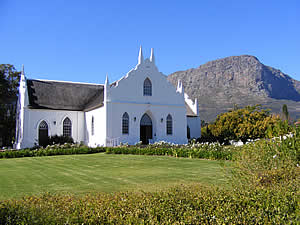 Franschhoek's elegant Dutch Reformed Church was built between 1846 and 1847 while the northern and southern wings were added in 1883.  Find Franschhoek accommodation on our Franschhoek accommodation page.