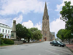 Grahamstown, the 1820 Settlers' city, is both the site and the centre of an area of much South African history.  A landmark from anywhere in the city is the Anglican Cathedral of St Michael and St George, Church Square.  Find Grahamstown accommodation on our Grahamstown accommodation page.