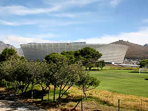 Green Point stadium, a world-class arena built for the Soccer World Cup in South Africa.  Find Green Point Cape Town accommodation on our Green Point Cape Town accommodation page.