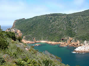 Knysna's famous heads which are a splendid sight from many parts of town.  In its early days Knysna was for a time a port and vessels had to negotiate the passage between the heads to the lagoon.  Find Knysna accommodation on our Knysna accommodation page.