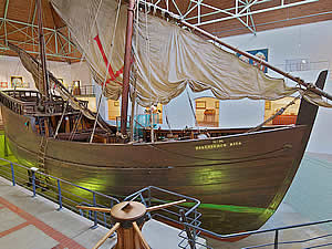 The replica of Bartolomeu Dias's caravelle in the Mossel Bay Museum.  Dias, who was searching for a trading route   to India, had rounded the Cape of Good Hope before landing at Mossel Bay in 1488 which he named Angra dos   Vaqueiros (The Bay of Cowherds). It aquired its present name from Dutch explorers.  Find Mossel Bay accommodation   on our Mossel Bay accommodation page.