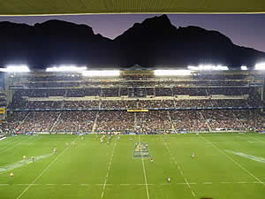 Newlands rugby stadium, home to Cape Town's own team and familiar to many rugby fans worldwide for hosting test matches.  Find Newlands Cape Town accommodation on our Newlands Cape Town accommodation page.