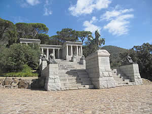 The Rhodes Memorial on the slopes of Table Mountain above the University of Cape Town which affords fantastic views East over Cape Town's flats region to the mountains beyond.  Find Newlands Cape Town accommodation on our Newlands Cape Town accommodation page.