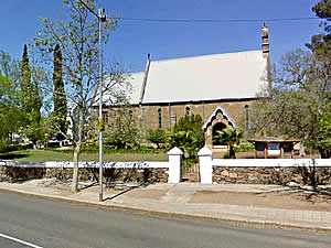 St Matthews Anglican Church in Riversdale's main street.  This attractive small church was begun in 1854 and was consecrated by Bishop Gray in 1856.  Find Riversdale accommodation on our Riversdale accommodation page.