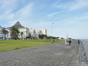 The promenade which runs the full length of Sea Point next to the sea, much frequented by walkers, joggers and sightseers.  Find Sea Point Cape Town accommodation with its beaches and sunshine on our Sea Point Cape Town accommodation page.