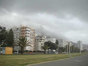The front at Sea Point with a Cape Storm building up.  Find Sea Point Cape Town accommodation with its beaches and sunshine on our Sea Point Cape Town accommodation page.