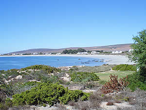St Helena Bay is where in 1497 Vasco da Gama first set foot on South African soil is a major fishing town and   hosts an annual sea festival which draws visitors.  The photo shows Britannia Bay which lies just West of the   town.  Find West Coast accommodation on our West Coast accommodation page.