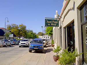 The main street of Clanwilliam with its old buildings and quaint shops.  First visited by Europeans in 1662 it was only sttled in 1725.  Find West Coast accommodation on our West Coast accommodation page.